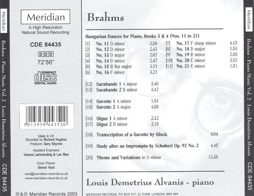 Brahms: Hungarian Dances for Piano, Books 3 & 4; Two Sarabandes; etc.