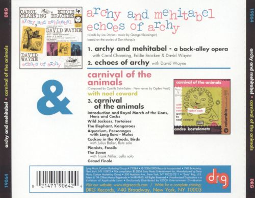 Archy and Mehitabel; Echoes of Archy; Carnival of the Animals