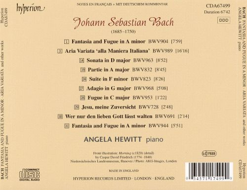 Bach: Fantasia and Fugue in A minor; Aria Variata; Sonata in D major; Suite in F minor