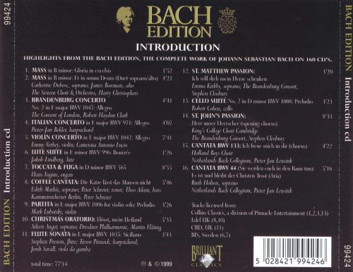 Bach Edition Introduction: Highlights from the Bach Edition
