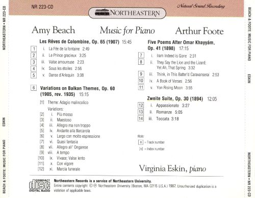 Amy Beach, Arthur Foote: Music for Piano