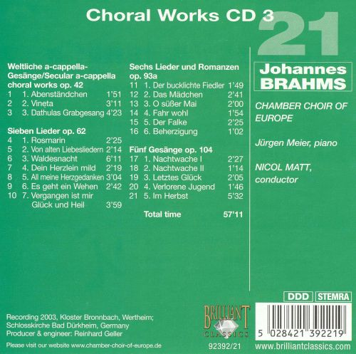 Brahms: Choral Works, Disc 3