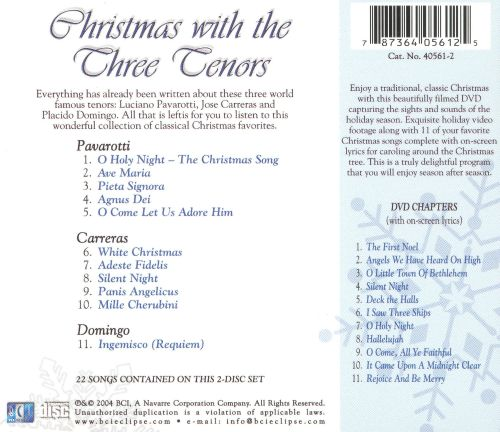 christmas with the three tenors includes dvd classical christmas - Classical Christmas Songs