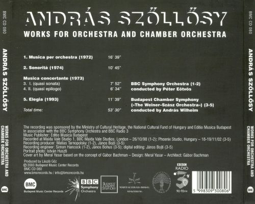 András Szölösy: Works for Orchestra and Chamber Orchestra