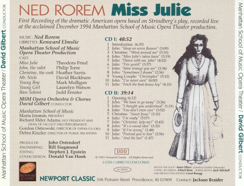 Ned Rorem: Miss Julie