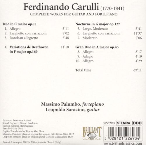Carulli: Complete Works for Guitar & Fortepiano, CD 3