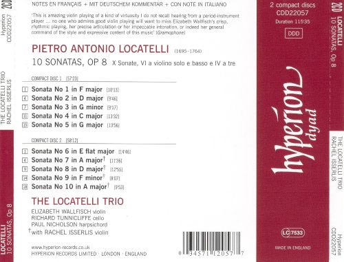 Pietro Antonio Locatelli: 10 Sonatas, Op8