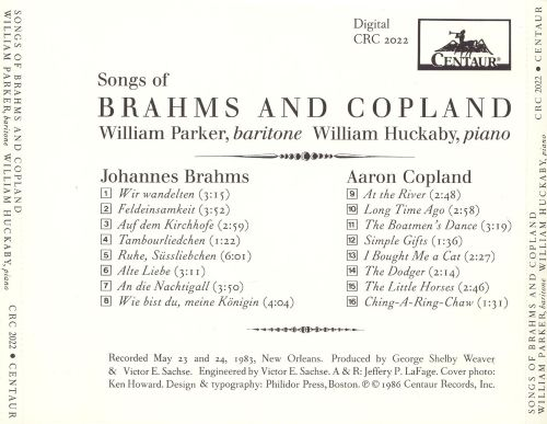 Songs of Brahms and Copland