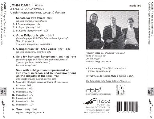 John Cage: The Works for Saxophone 2