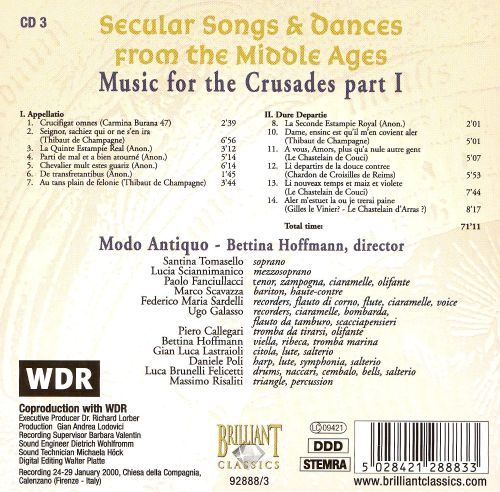 secular songs dances from the middle ages music for the crusades