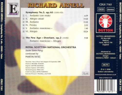 Richard Arnell: Symphony No. 3; The New Age - Overture