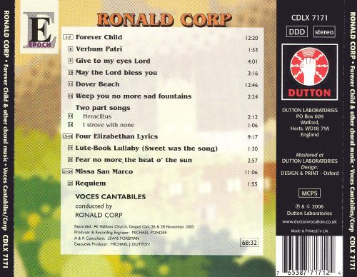 Ronald Corp: Forever Child and Other Choral Music