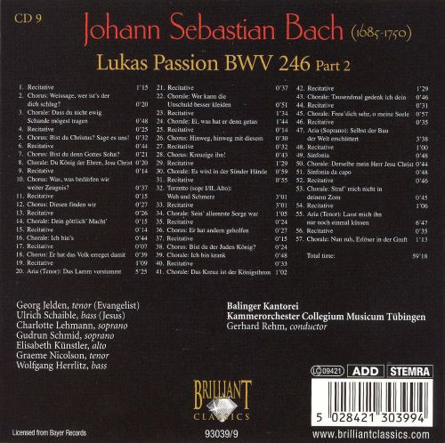 Bach: Lukas Passion, Part 2
