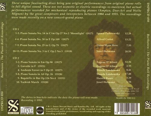 Beethoven: The Original Piano Roll Recordings
