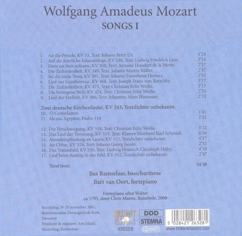 Mozart: Complete Works, Vol. 8 - Concert Arias, Songs, Canons, Disc 8