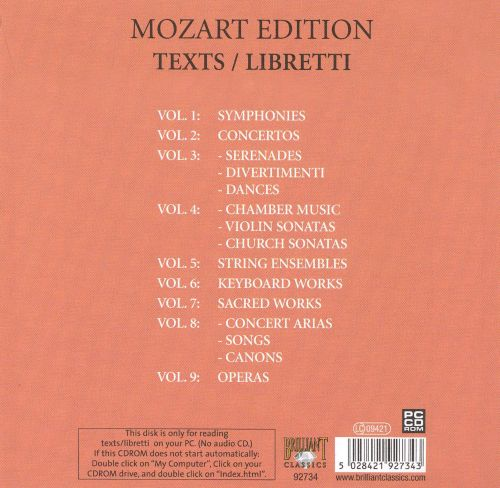 Mozart: Complete Works - Texts and Libretti [PC CD-ROM]