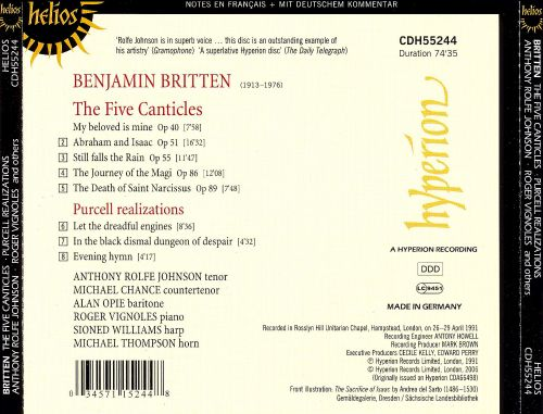 Benjamin Britten: The Five Canticles & 3 Purcell Realisations