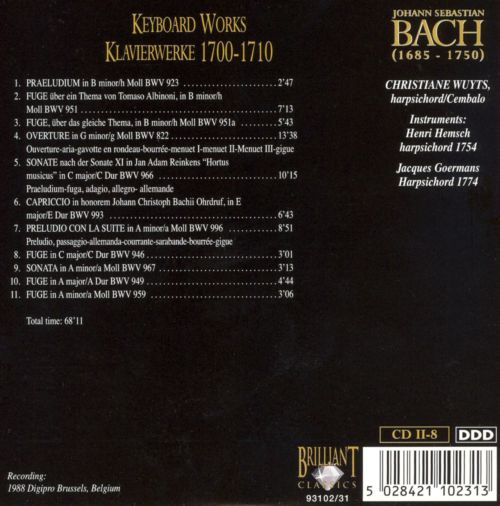 Bach Edition: Keyboard Works 1700-1710 (Part 2)