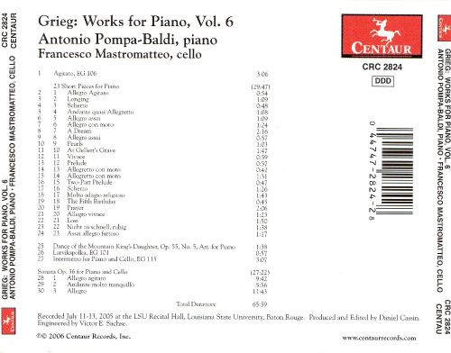 Grieg: Works for Piano, Vol. 6