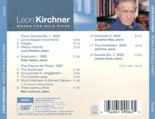 Leon Kirchner: Works for Solo Piano