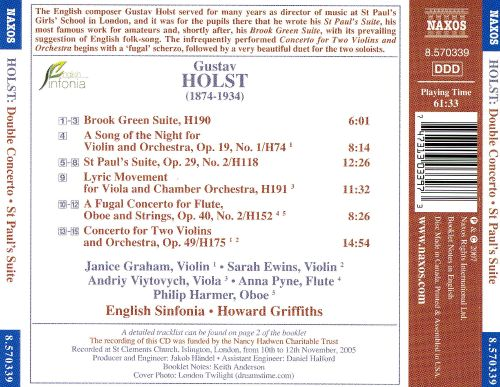 Holst: Double Concerto; St Paul's Suite; Brook Green Suite