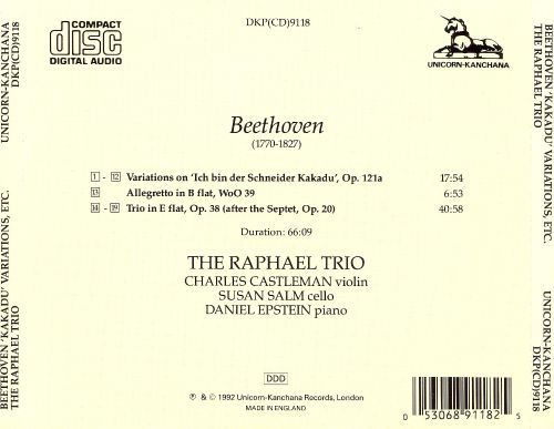 Beethoven: Kakadu Variations; Allegretto in B flat; Trio in E flat