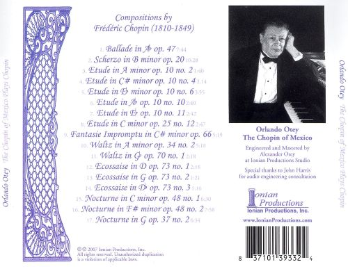 The Chopin of Mexico Plays Chopin, Vol. 1