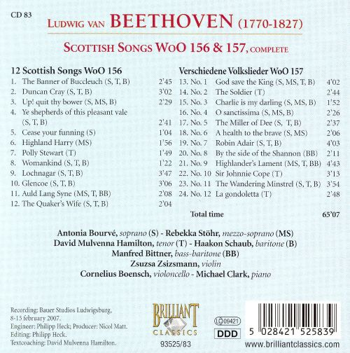 Beethoven: Scottish Songs Wo0 156 & 157