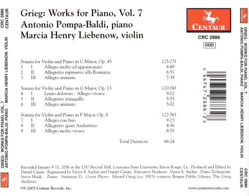 Grieg: Works for Piano, Vol. 7