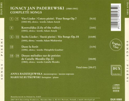 Paderewski: Songs
