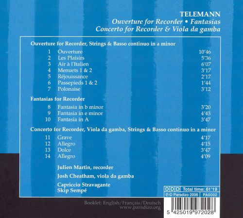 Telemann: Ouverture for Recorder; Fantasias; Concerto for Recorder & Viola da Gamba