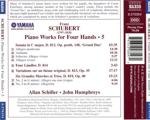 Schubert: Piano Works for Four Hands, Vol. 5