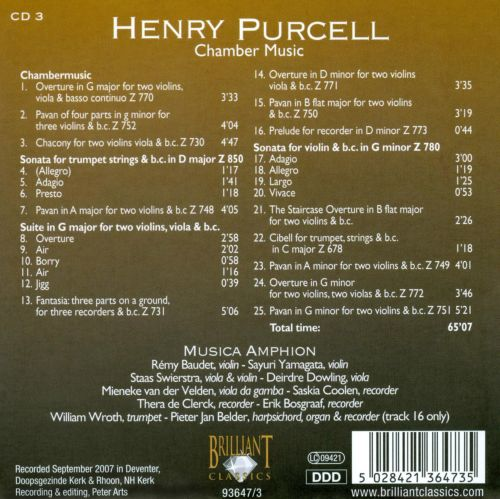 Purcell: Chamber Music
