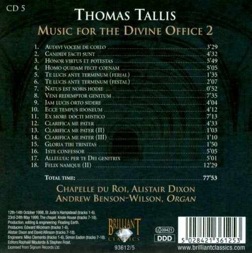 Thomas Tallis: Music for the Divine Office 2