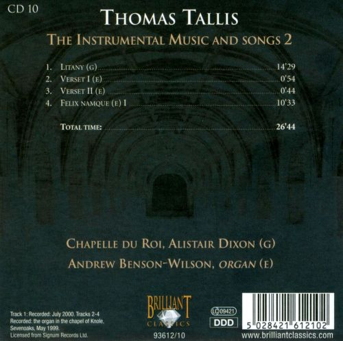 Thomas Tallis: The Instrumental Music and Songs 2