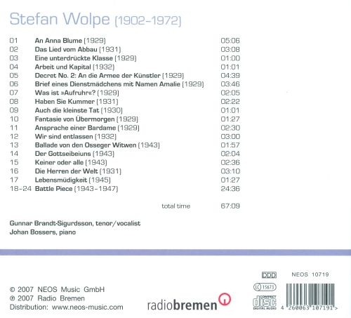 Stefan Wolpe: Lieder; Battle Piece