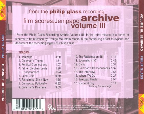 From the Philip Glass Recording Archive, Vol. 3: Jenipapo