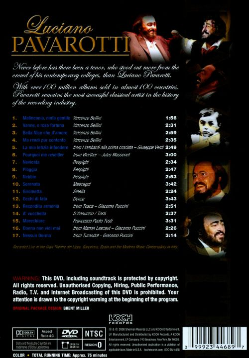 Luciano Pavarotti: The most successful classical artist in the history of the recording industry [DVD Video]