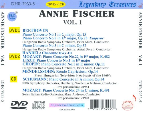 Annie Fischer Performs Mozart, Beethoven, Chopin and Others [CD + 2 DVDs]