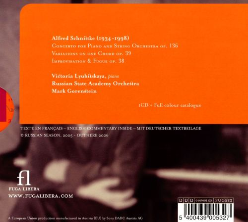 Alfred Schnittke Concerto For Piano Variations On One Chord