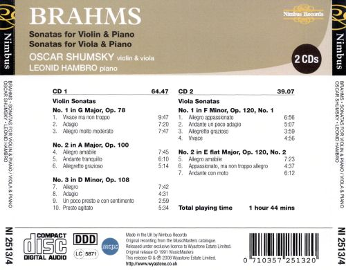 Brahms: Sonatas for Violin & Piano; Sonatas for Viola & Piano