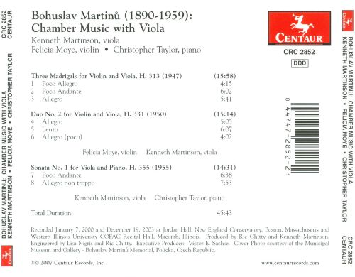 Martinu: Chamber Music with Viola