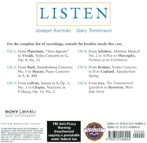 Listen sixth edition by joseph kerman and gary tomlinson.