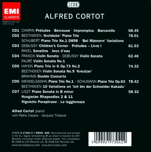 Alfred Cortot: The Master Pianist [Box Set]