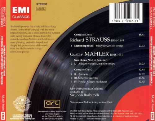 Mahler: Symphony No. 6; Richard Strauss: Metamorphosen