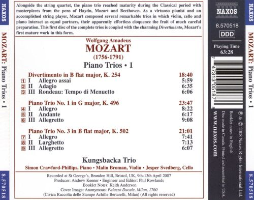 Mozart: Piano Trios K. 496 and K. 502; Divertimento in B flat