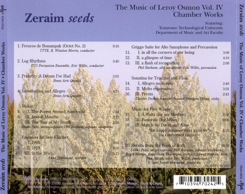 Zeraim (Seeds): The Music of Leroy Osmon, Vol. 4 - Chamber Works