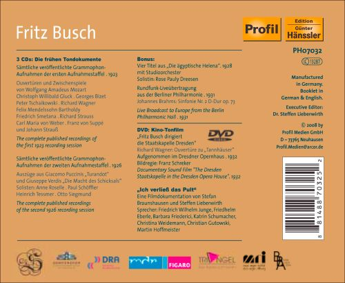 Fritz Busch: His Complete Dresden Recordings [CD+DVD]