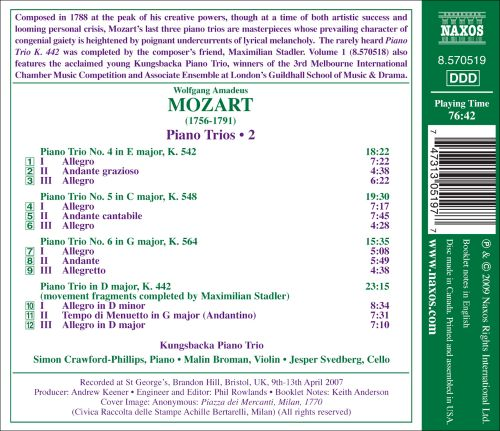 Mozart: Late Piano Trios K.542, k.548 and K.564