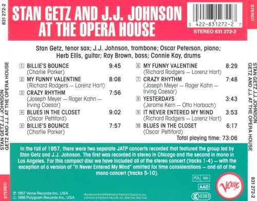 Stan Getz and J.J. Johnson at The Opera House